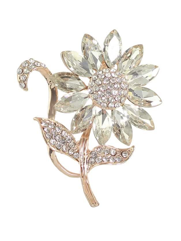 Elegant Rhinestone Flower Wedding Party Brooch For Women elegant rhinestone flower wedding party brooch for women