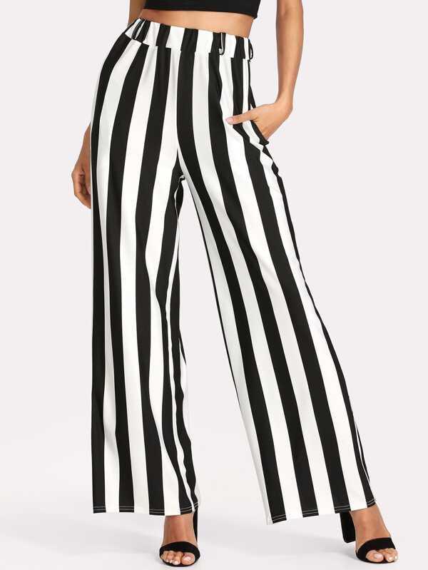 Contrast Stripe Wide Leg Pants by Sheinside