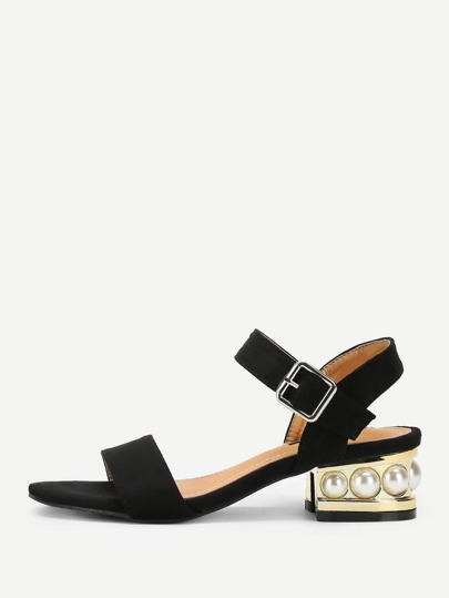 Strappy Block Heeled Suede Sandals