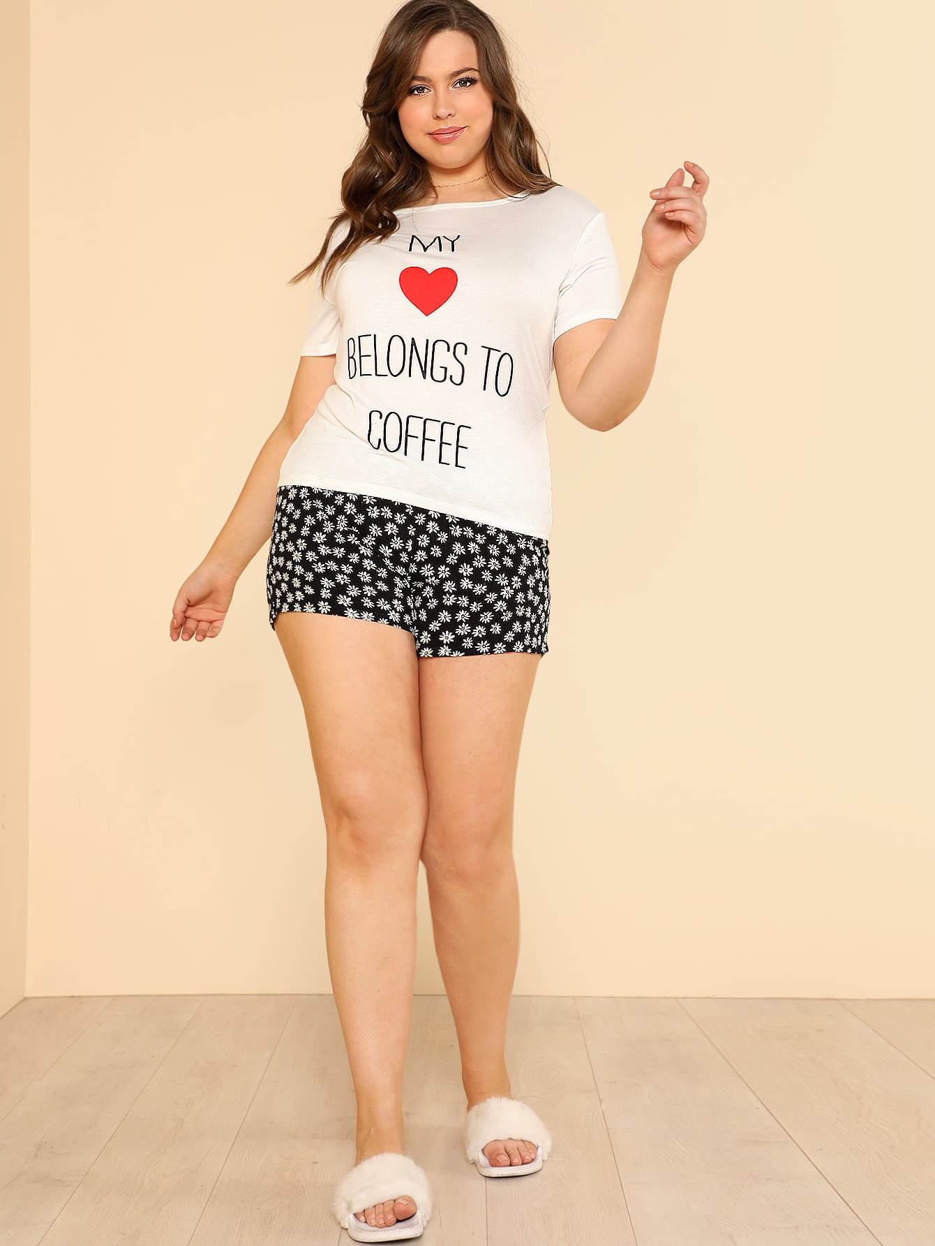 Letter And Heart Print Tee & Shorts PJ Set rolled up sleeve top and leopard print shorts pj set