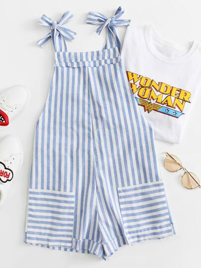 Self Tie Shoulder Pocket Patched Striped Romper