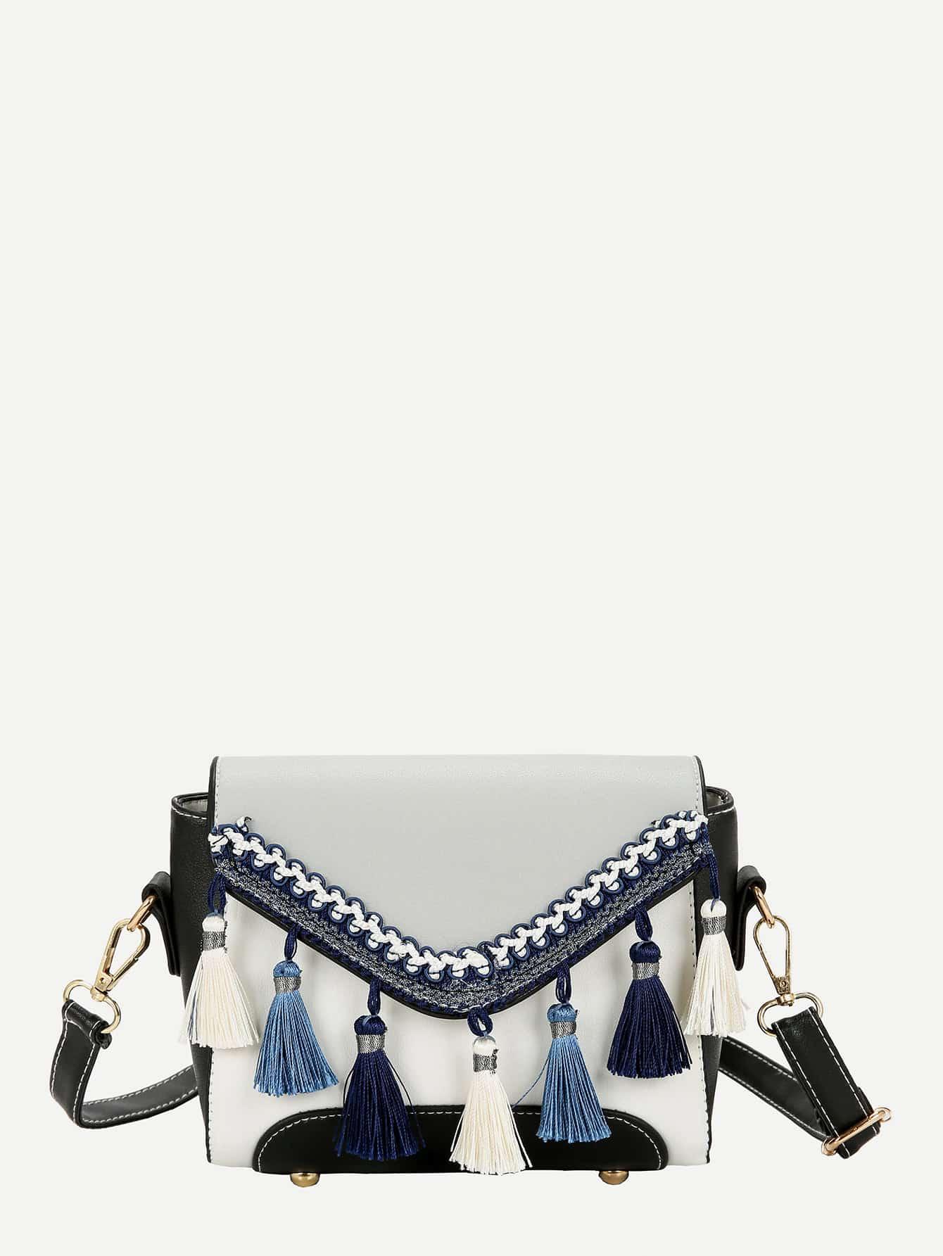 Tassel Detail Flap Shoulder Bag