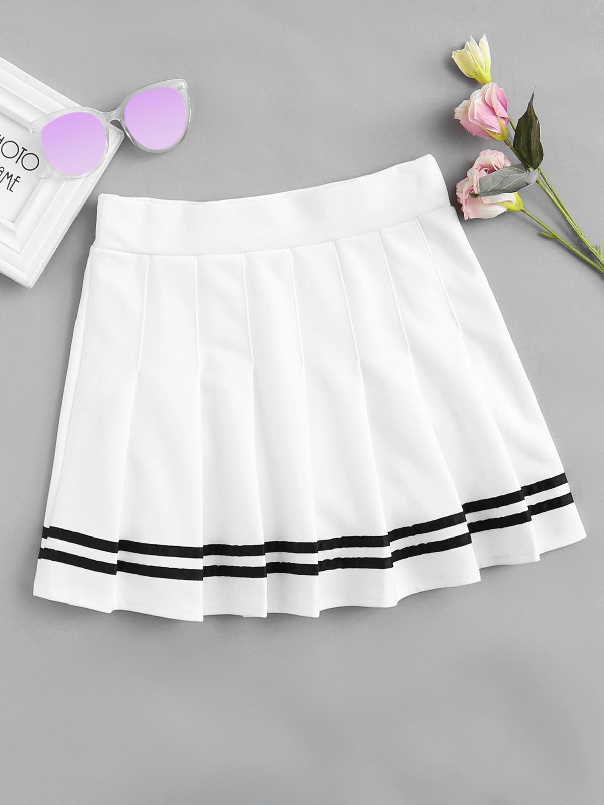 Stripe Panel Pleated Skirt by Romwe