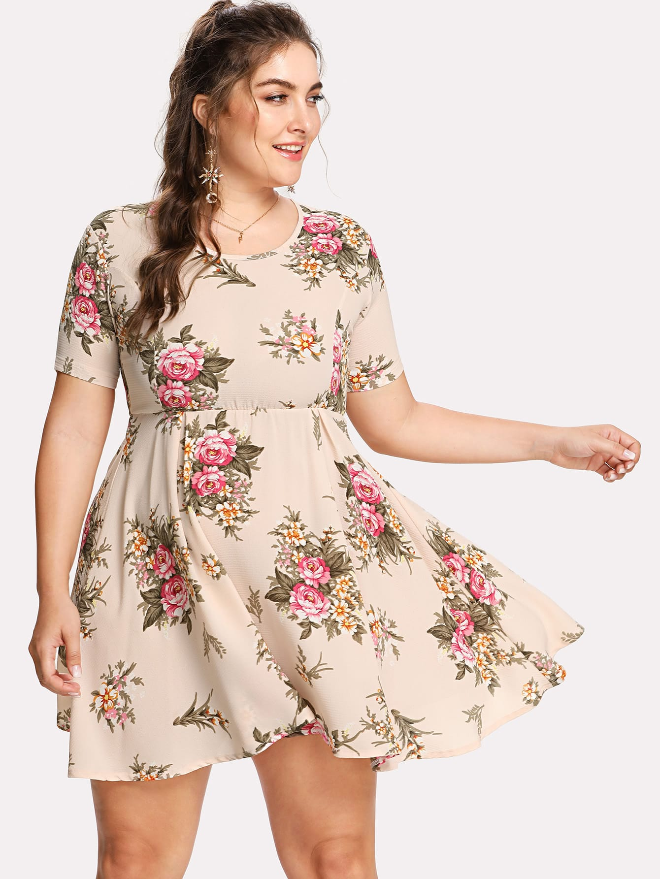 Flower Print Fit & Flare Dress square neck flower print fit and flare dress