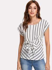 Knotted Front Striped Chiffon Top