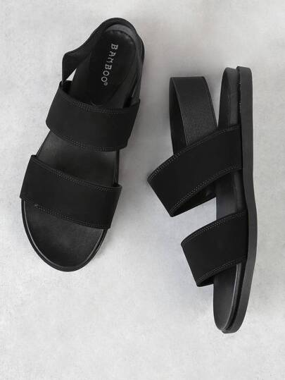 Nubuck Sling Back Double Band Open Toe Sandal BLACK
