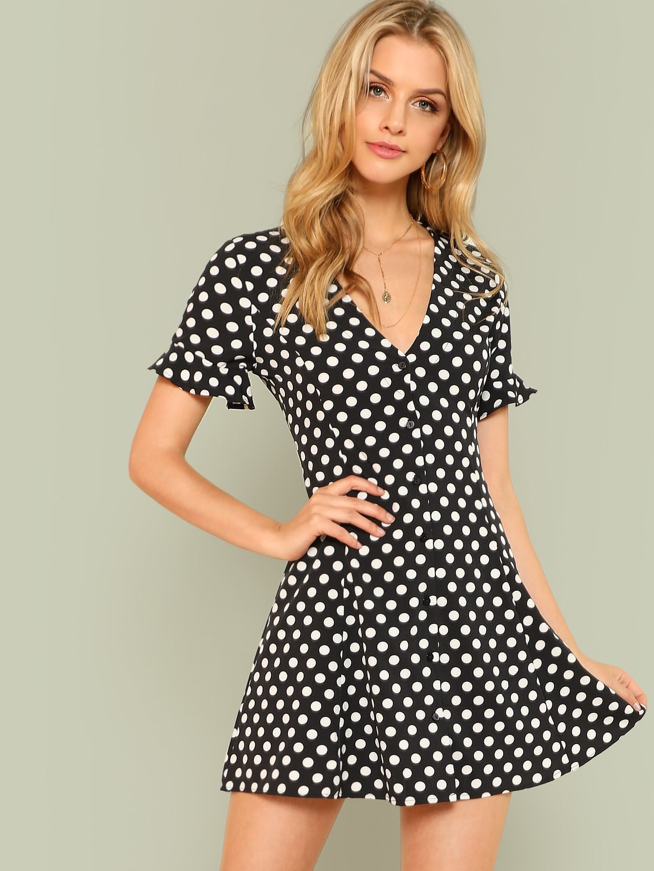 Flounce Sleeve Polka Dot Button Up Dress flounce one shoulder polka dot dress