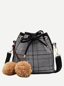 Pom Pom Decor Drawstring Crossbody Bag