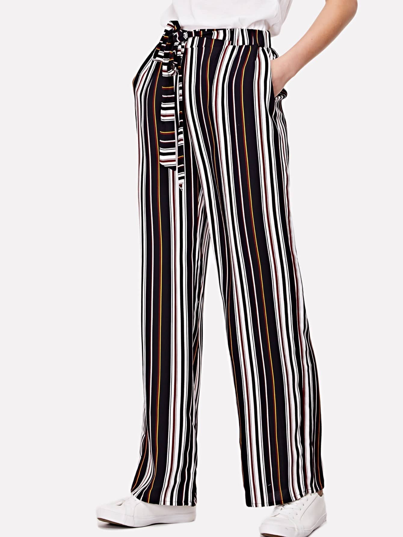 Knot Waist Striped Wide Leg Pants hot new g4 odc5 60vdc g4 odc5 60vdc odc5 60vdc dip4 free shipping