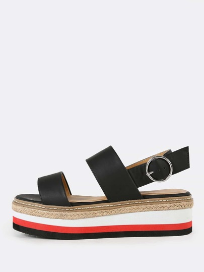 Espadrille Trim and Striped Platform Sling Back Wedge Sandal with Double Bands BLACK
