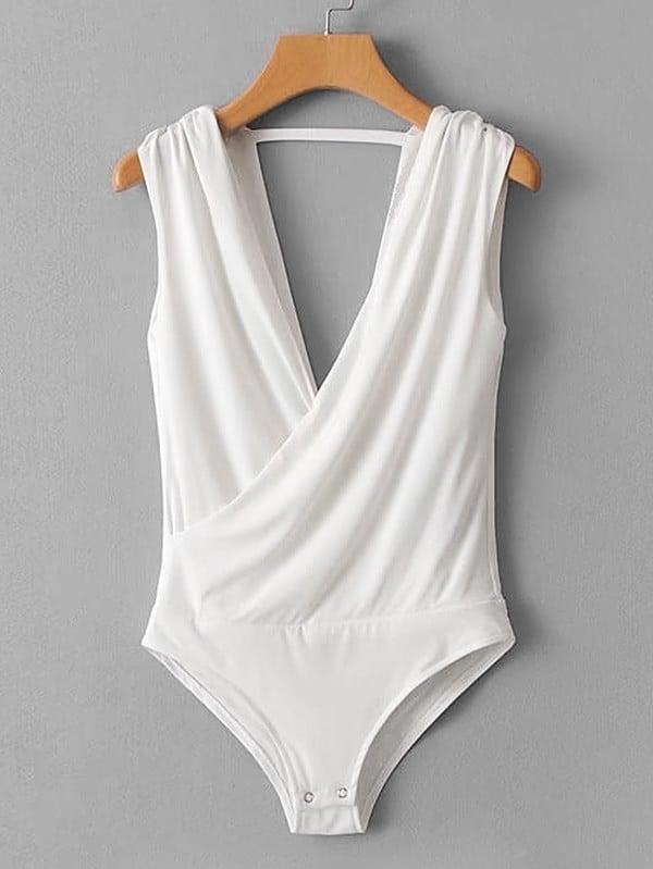 Surplice Neckline Open Back Bodysuit