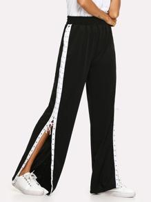 Split Lace Up Side Wide Leg Pants