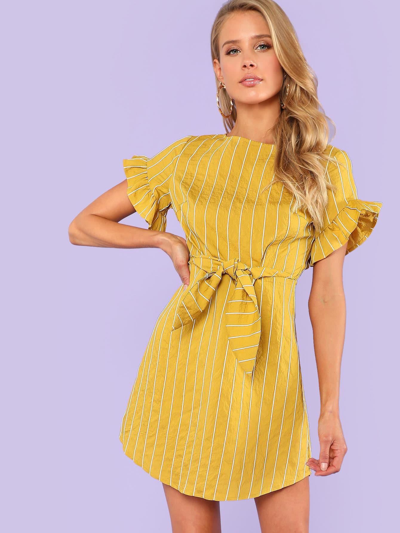 Flounce Sleeve Striped Dress flounce sleeve striped denim dress