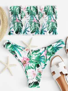 Tropical Frill Smocked Top With High Leg Bikini