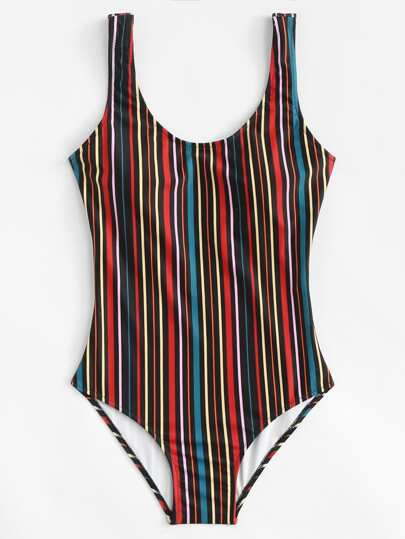 Low Back Vertical Striped Swimsuit