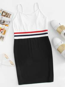 Striped Tape Color Block Cami Dress