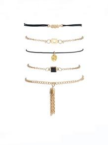 Gold Plated Multi Shape Chain Bracelet Set