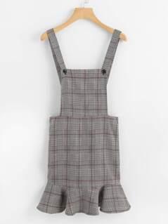 Ruffle Hem Plaid Pinafore Dress
