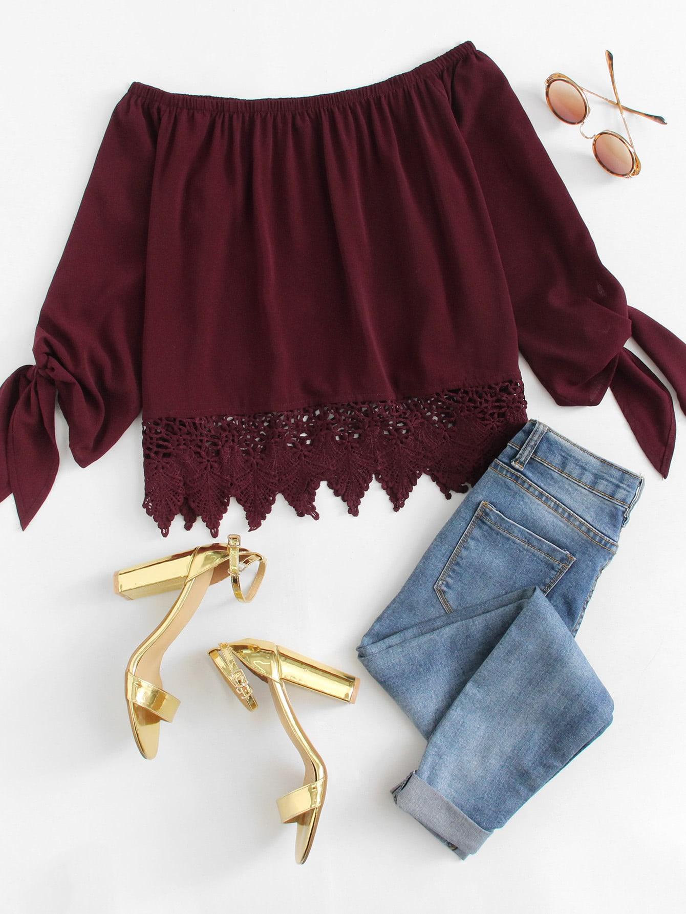 Купить Отпускнойстиль Одноцветный с бантом Бордовый Блузы+рубашки, null, SheIn
