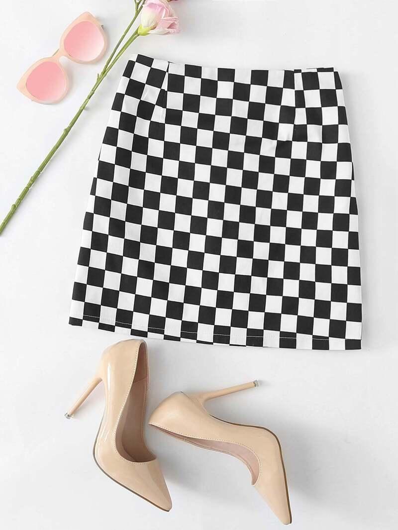 Gingham Zip Up Back Skirt, Black and white