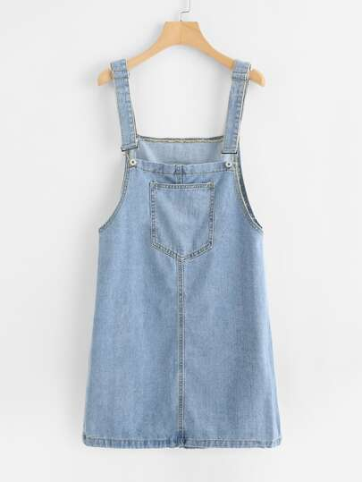 Pocket Front Overall Denim Dress