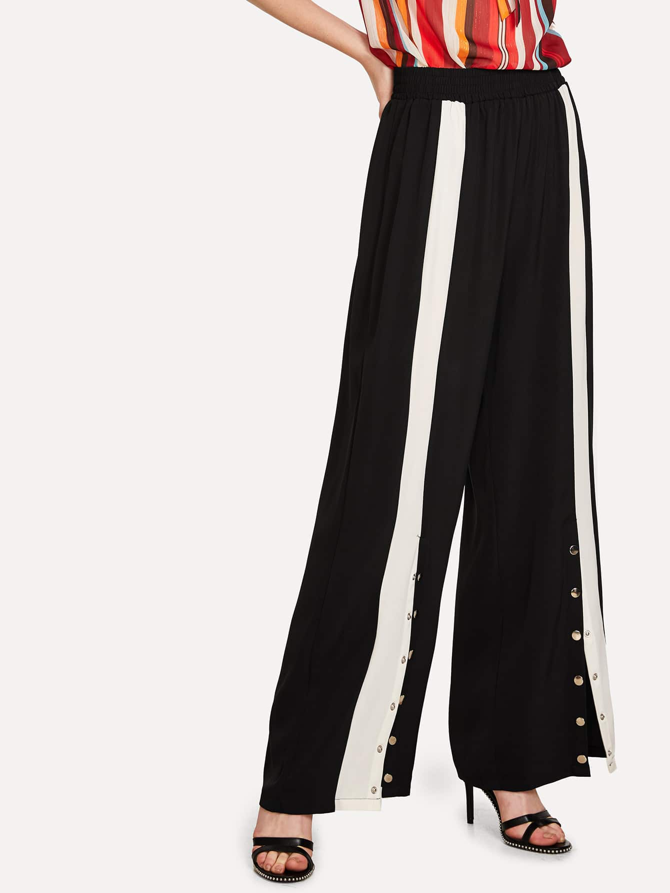 Button Side Contrast Panel Wide Leg Pants bow tie side wide leg pants