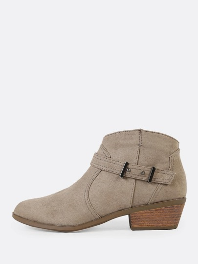 Faux Suede Zip Up Low Heel Cowgirl Booties TAUPE