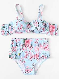 Flower Print Flounce Swimsuit