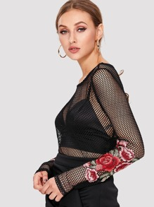 Embroidered Rose Patch Fishnet Top