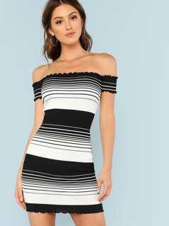 Striped Off Shoulder Ribbed Knit Dress BLACK WHITE