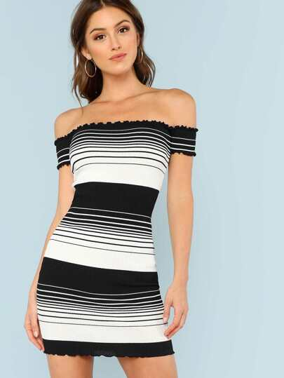 Striped Off Shoulder Ribbed Knit Dress BLACK WHITE