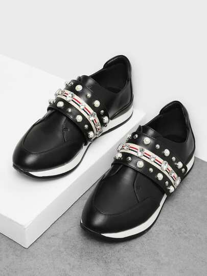 Sneakers Slip On di design con strass