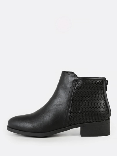 Triangle Cut Out Detail Round Toe Zip Up Bootie BLACK