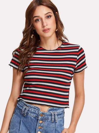 Striped Crop Ribbed Tee