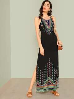 Pattern Print Lattice Back Maxi Dress BLACK