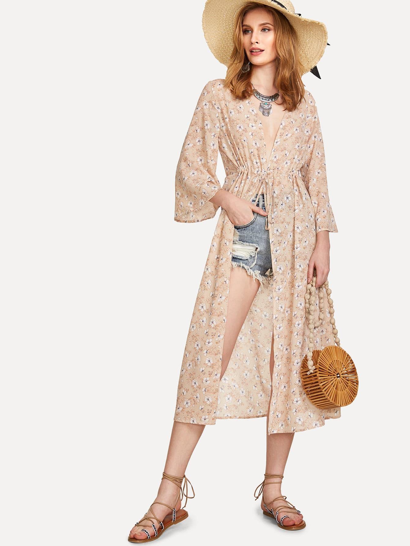 Drawstring Detail Calico Print Kimono цена 2017