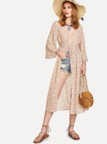 Drawstring Detail Calico Print Kimono
