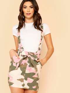Camo Print Suspender Skirt with Belt PINK OLIVE WHITE