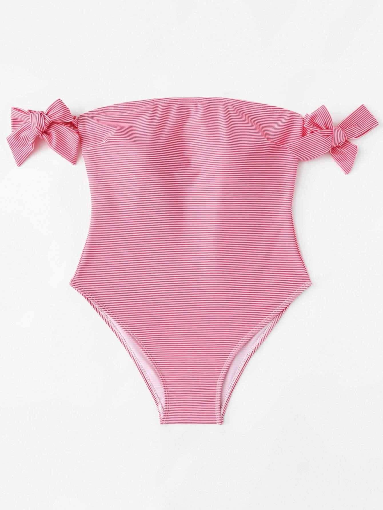 Bow Tie Striped Bardot Swimsuit
