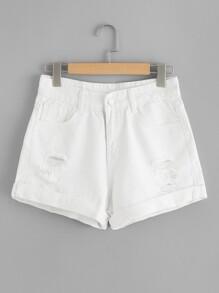 Roll Up Hem Ripped Denim Shorts
