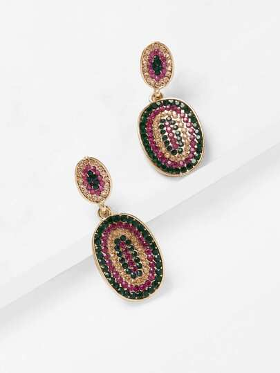 Mixed Rhinestone Decorated Drop Earrings