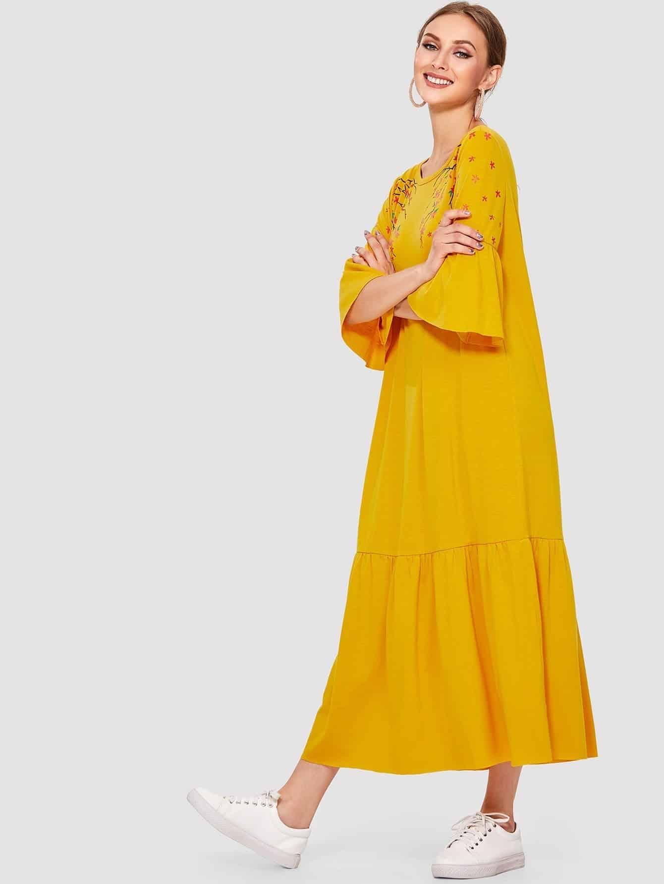 Flower Blossom Print Fluted Sleeve Tiered Hem Dress patchwork print tiered hem halter dress