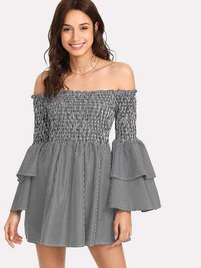 Shirred Bardot Tiered Sleeve Striped Dress