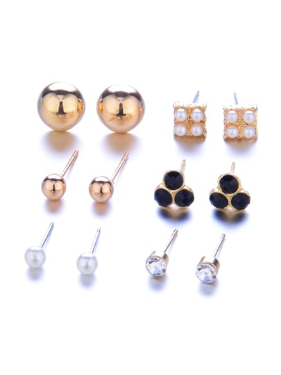 Faux Pearl & Round Design Stud Earring Set