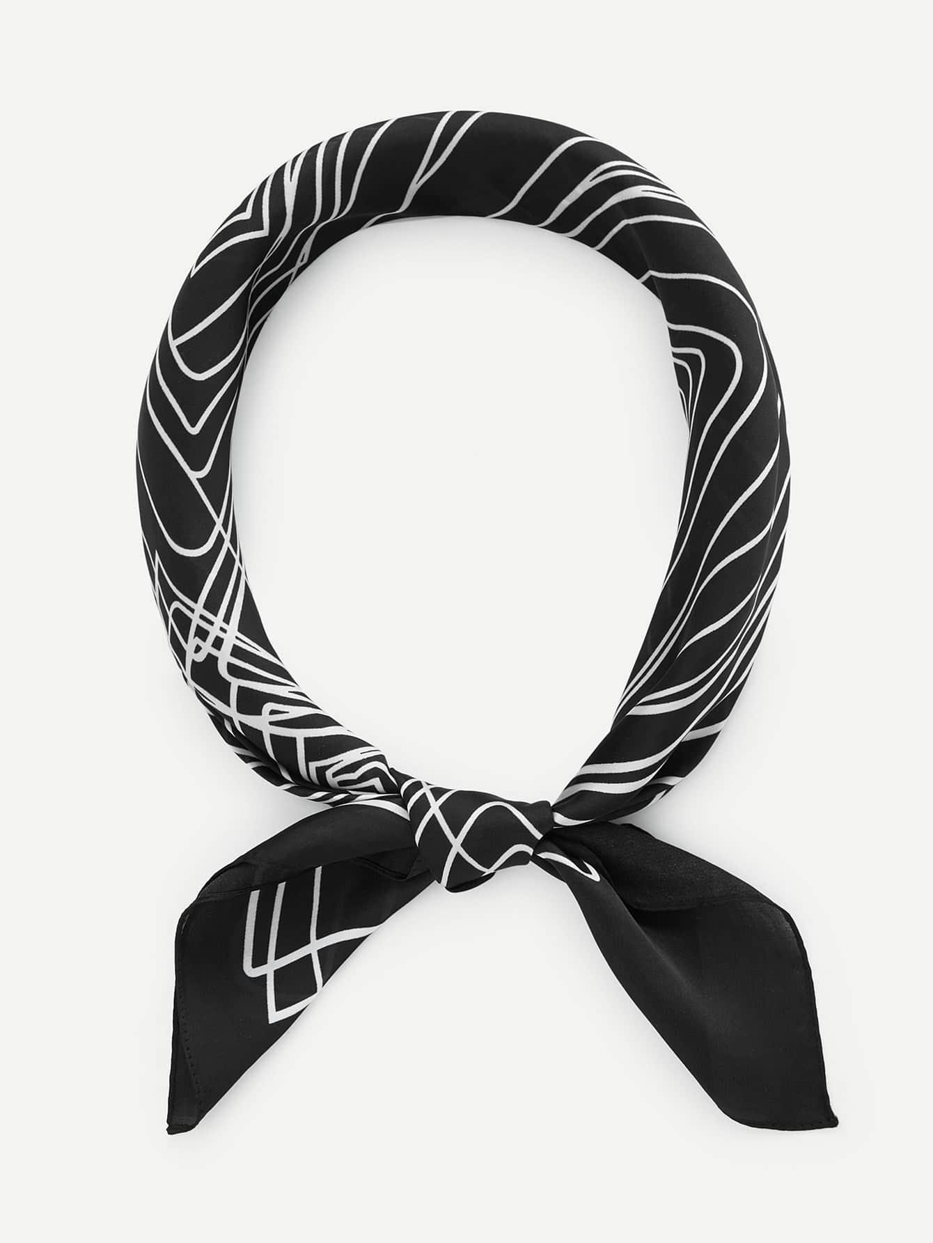 Abstract Line Print Bandana calico print satin bandana