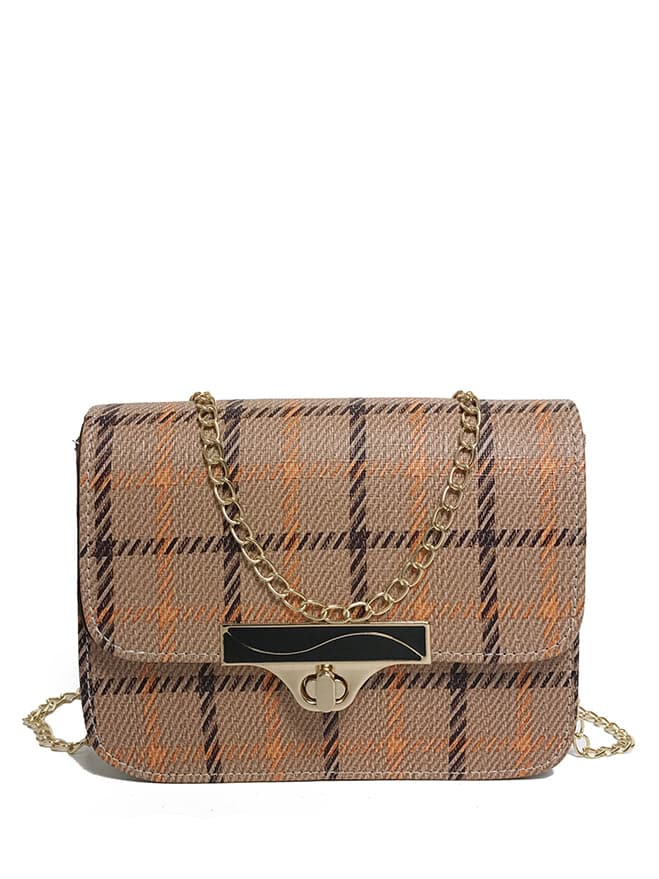 Buckle Decor Plaid Crossbody Bag