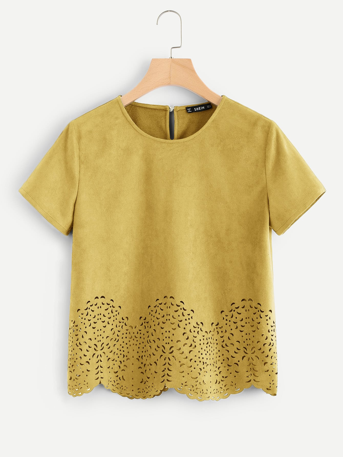 Scallop Laser Cut Out Top scallop laser cut out textured tank top