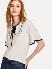Contrast Binding Tie Neck Embroidered Top