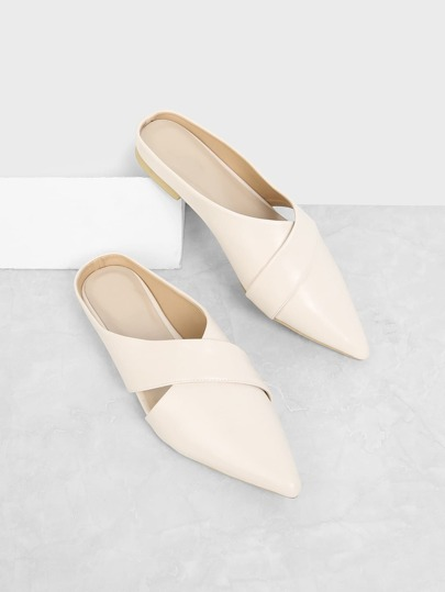 Cross Strap Pointed Toe Mule Flats