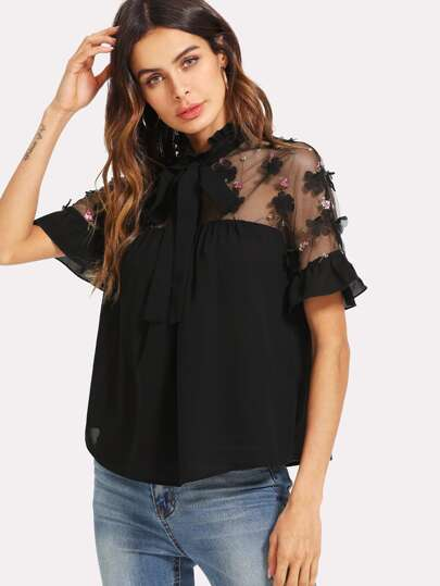 Embroidered Mesh Yoke Ruffle Trim Top